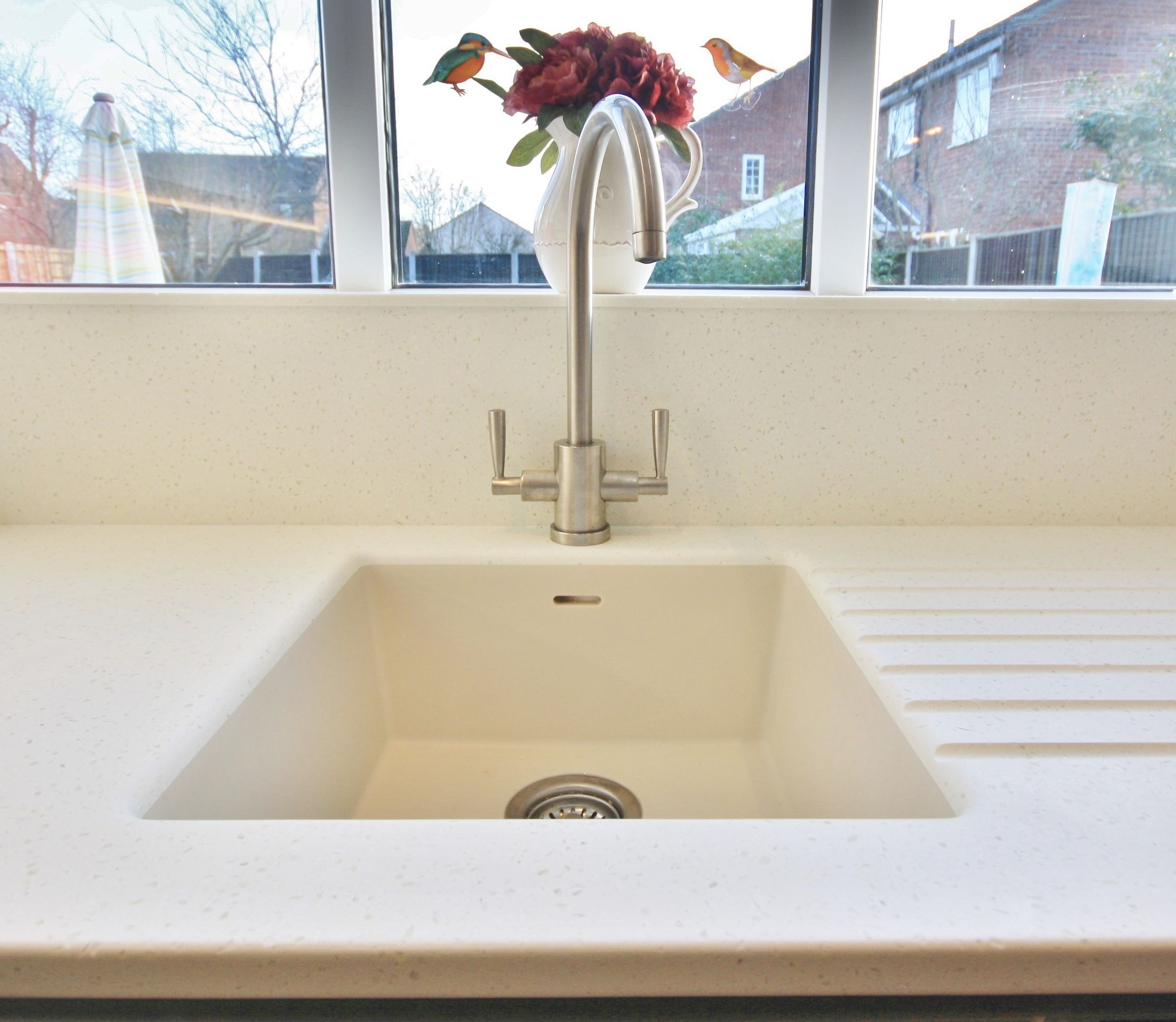 Corian sink with Mistral work top has a seamless finish. Designed ...