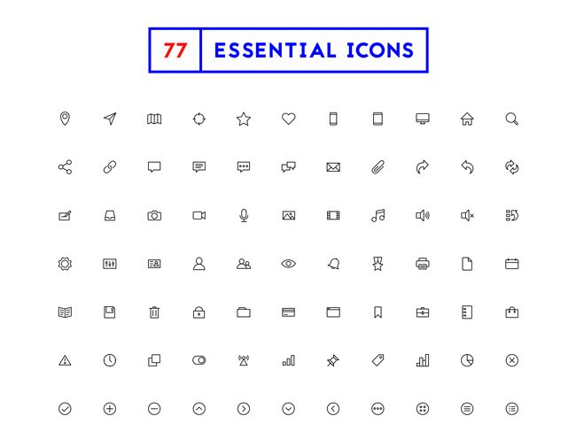 Free Download 77 Minimal Outline Icons Psd Svg Ai Eps Icon Png