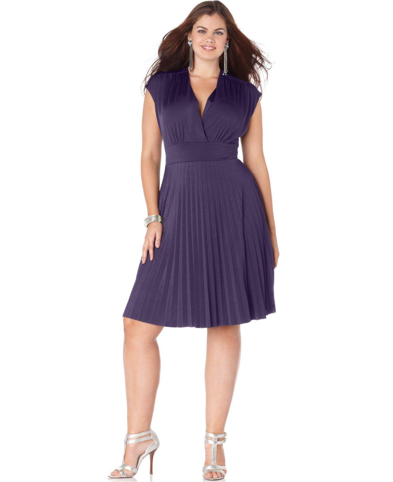 Soprano Plus Size Cap-Sleeve Pleated Empire Dress - Dresses - Plus ...