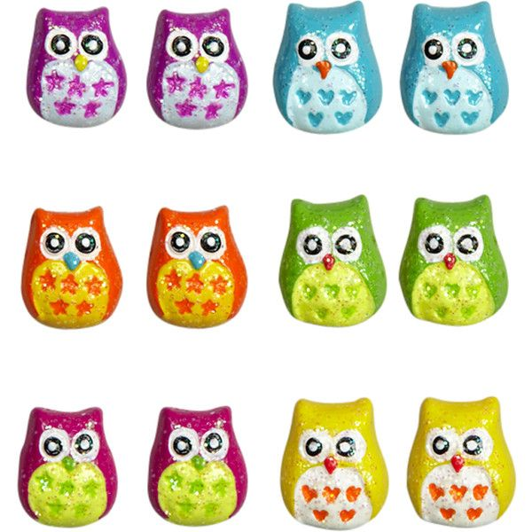 Multi Colored Owl Studs animal shop ($12) ❤ liked on Polyvore featuring jewelry