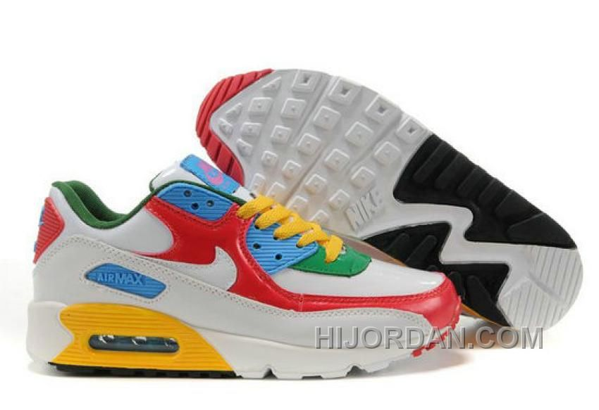 new style ac94c c3229 Nike Air Max 90 Womens Red White Blue Green Discount FXchf ...