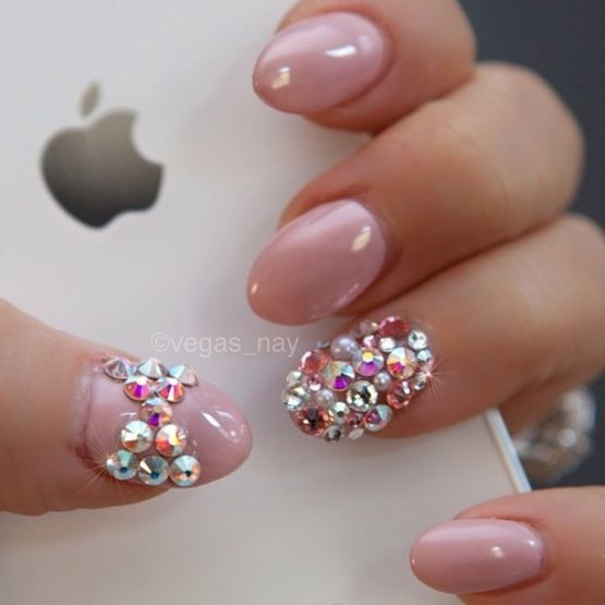 bling stiletto nails pink silver