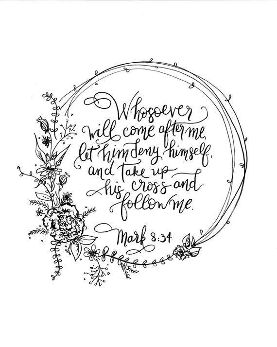 Digital Download Handlettered Scripture Print Floral Wreath