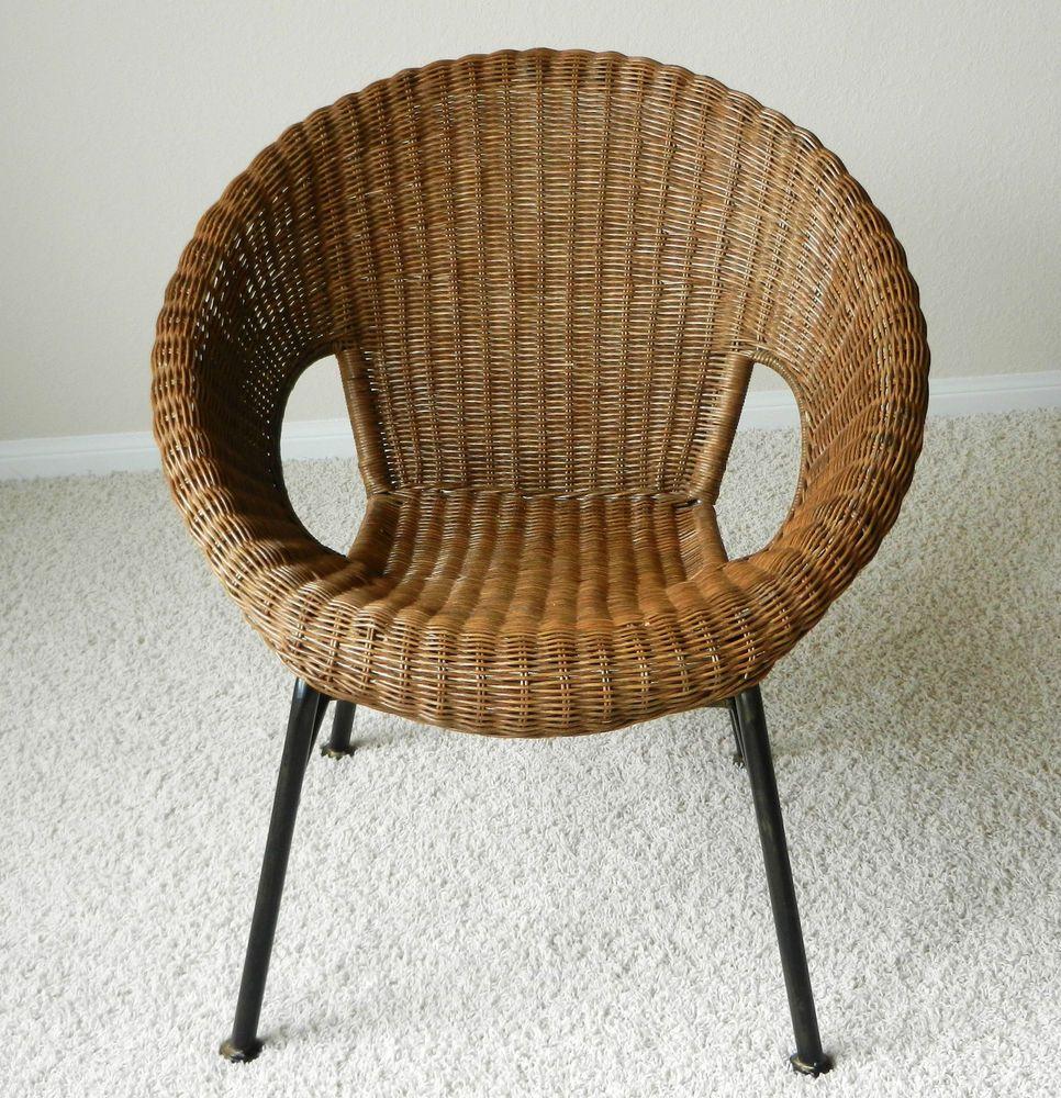 Attrayant Vintage Mid Century Modern Wicker Dish Saucer Chair Iron Frame Legs |  Antiques, Periods U0026 Styles, Mid Century Modernism | EBay!