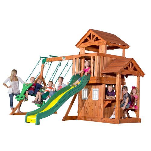 Backyard Discovery Tanglewood Wooden Swing Set Brown Brown