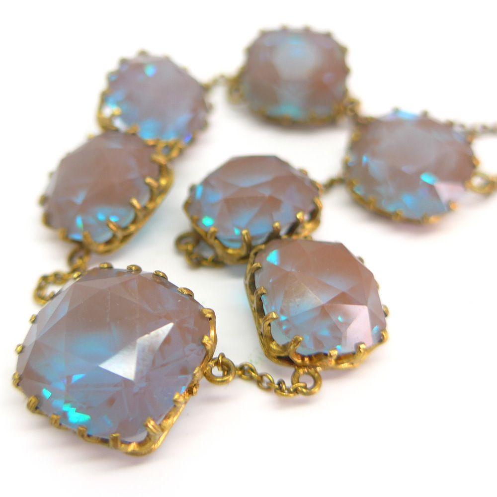 Antique Edwardian Art Deco Saphiret Cushion Cut Glass Necklace | Clarice…