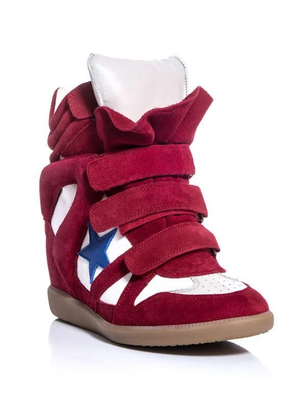 Isabel Marant Bayley Wedge Sneakers Red