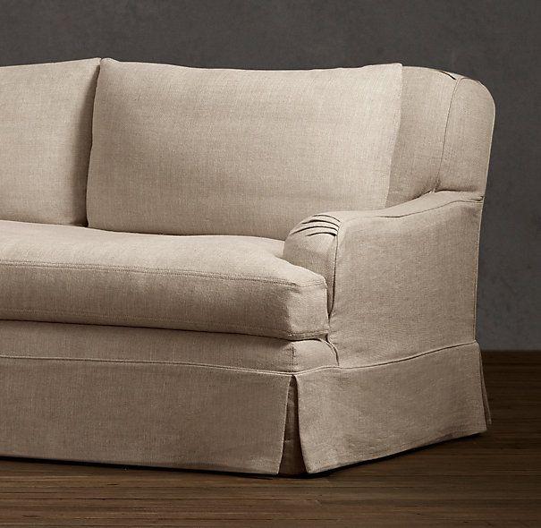Belgian Shelter Arm Sofa White Modern Sectional Sofas 7' Classic Roll Slipcovered   ...
