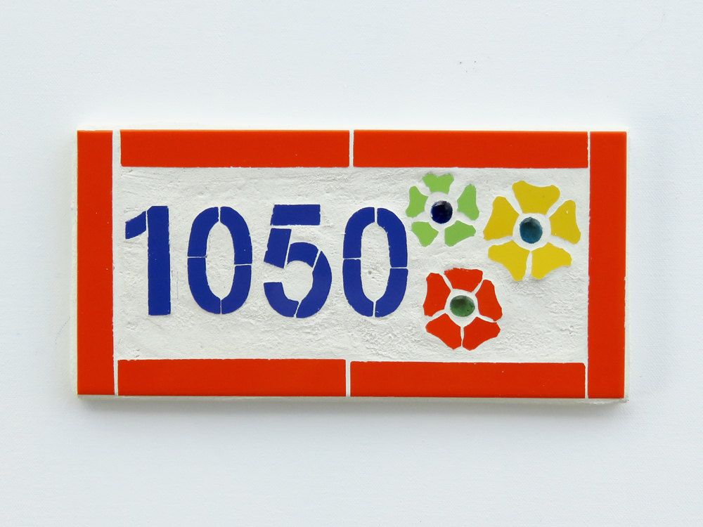 Outdoor House Number Modern House Number Plaque Mosaic Wall Art