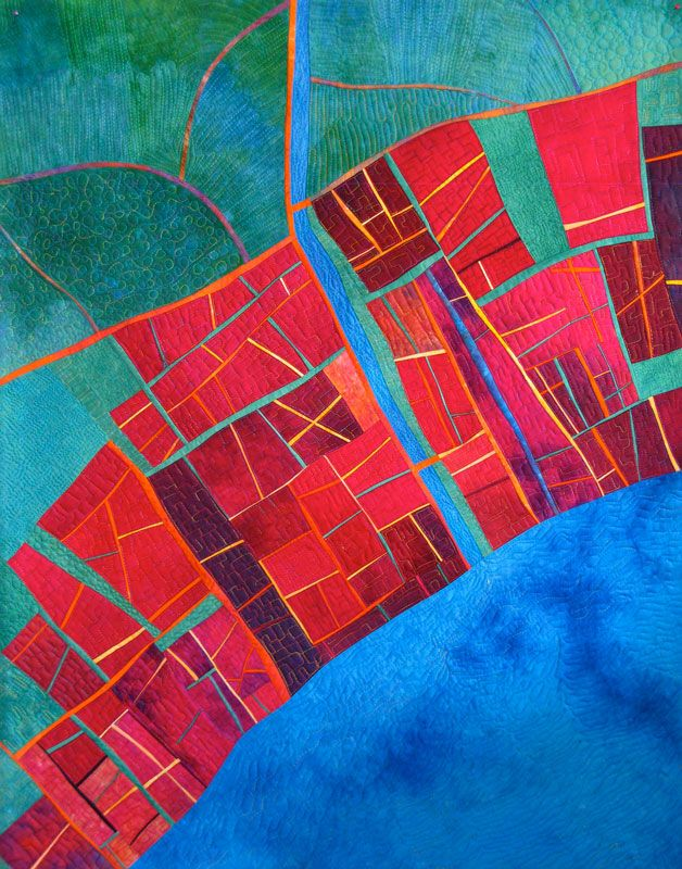Imaging Maps with Alicia Merritt.  From a 2013 art quilt class at Abruzzo School of Creative Art