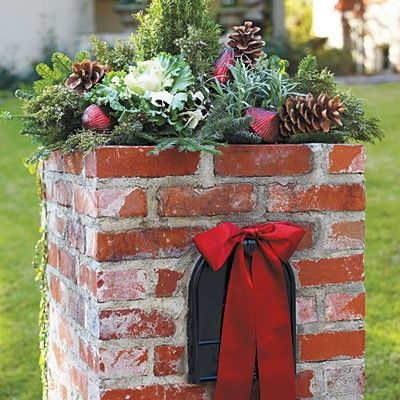 2014 Christmas easy pine cone covered brick mailbox decor with red