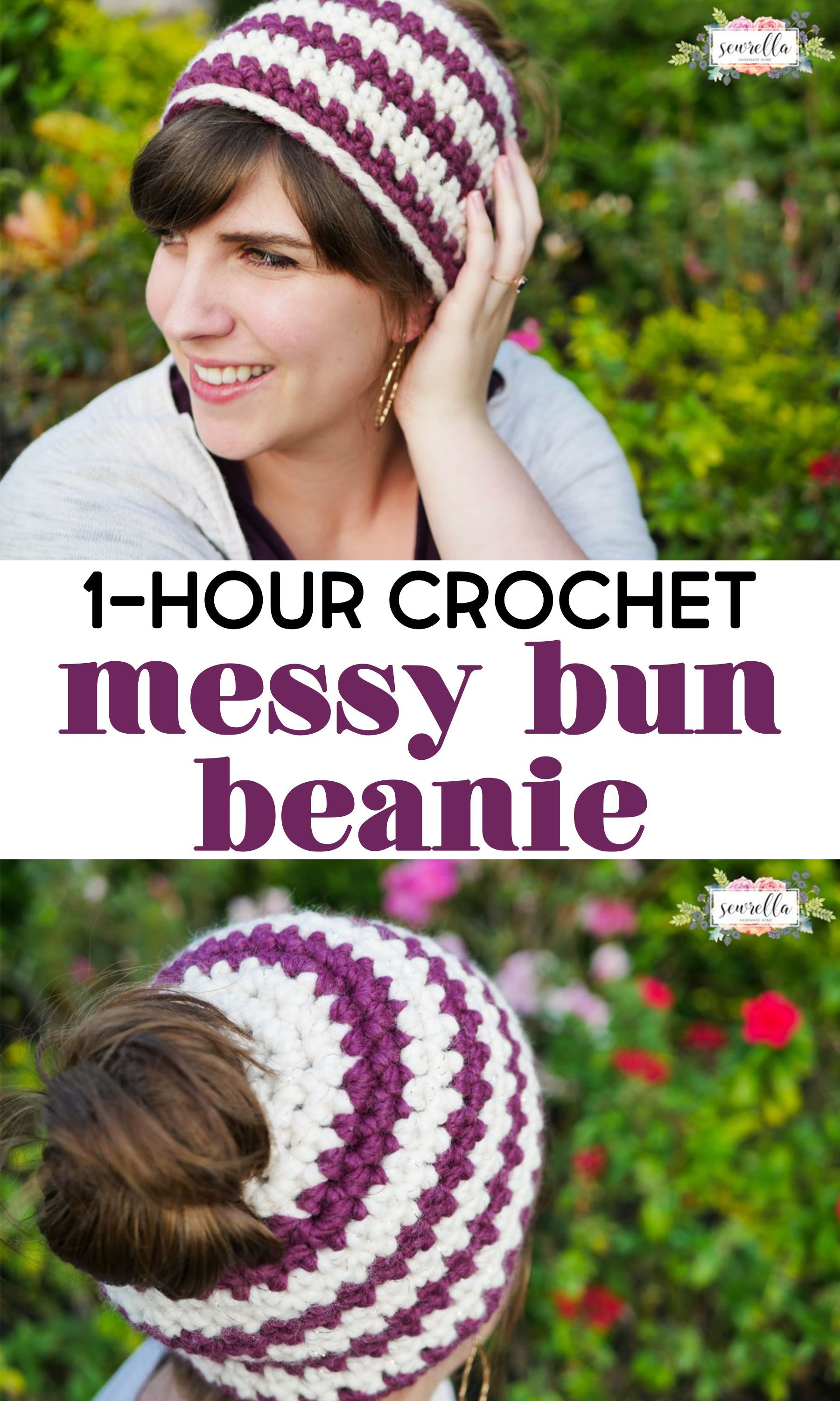 My messy bun beanie is a crochet project that works up in just one hour!  It s such a great 8f4401d2010