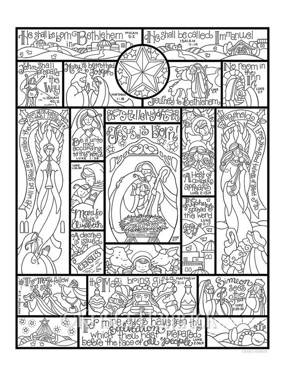 story of the nativity coloring page in three sizes 85x11 8x10 suitable for framing 6x8 for bible journaling tip in