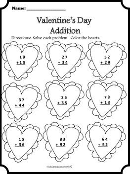 Happy Valentine S Day This Is A Free Valentine S Day Addition Worksheet Just Download And Pr Valentine Worksheets Valentines School Valentines Day Activities