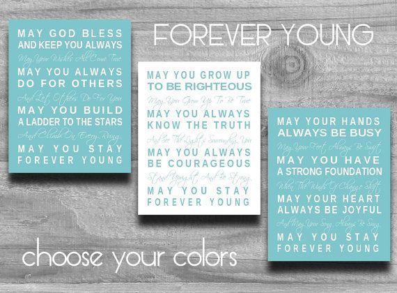 Forever Young Print Set of 3 Bob Dylan Lyrics Art Typography Nursery - fresh 187 invitation lyrics lord infamous