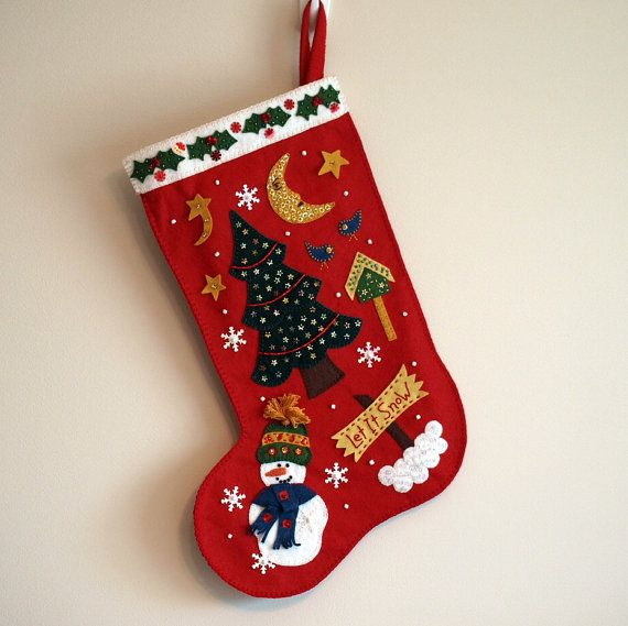 Stocking With Sequins And Beads Made From Wool Felt Christmas Crafts Decorations Christmas Stockings Christmas Stockings Personalized