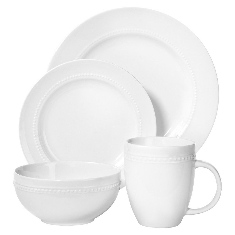 16 Piece Round Beaded Dinnerware Set White Threshold