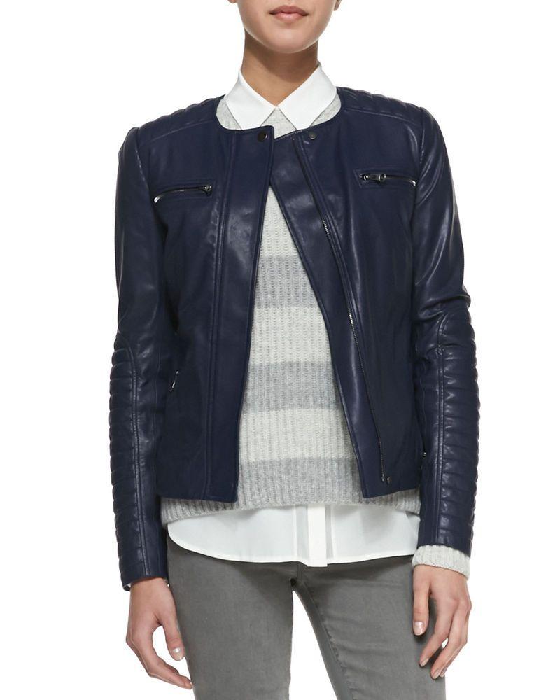 Womens Leather Jacket Navy Blue Biker Motorcycle Size S M L Xl Xxl