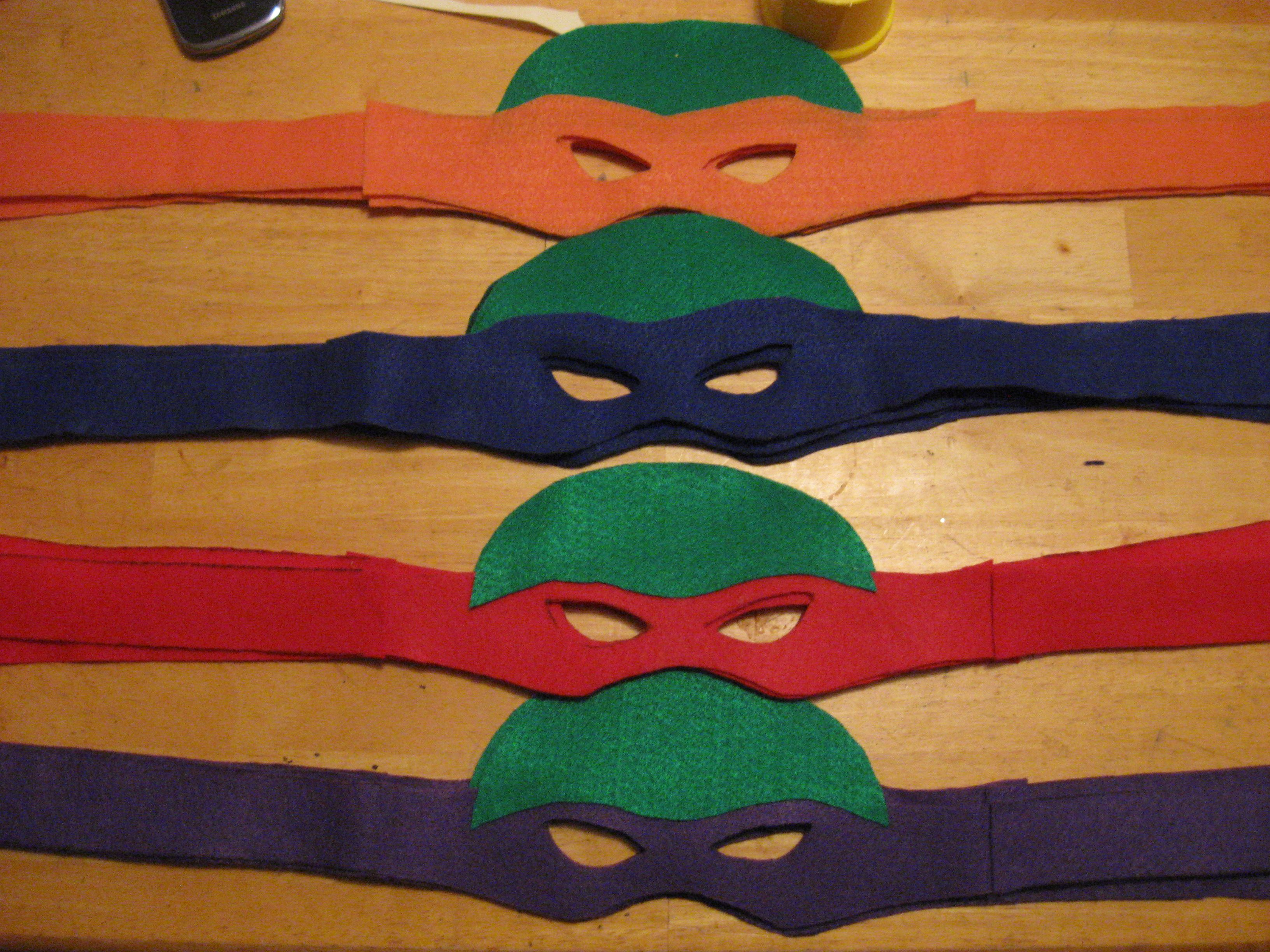 TMNT Mask All That Was Used Color Coordinating Felt With Green Glued To Each