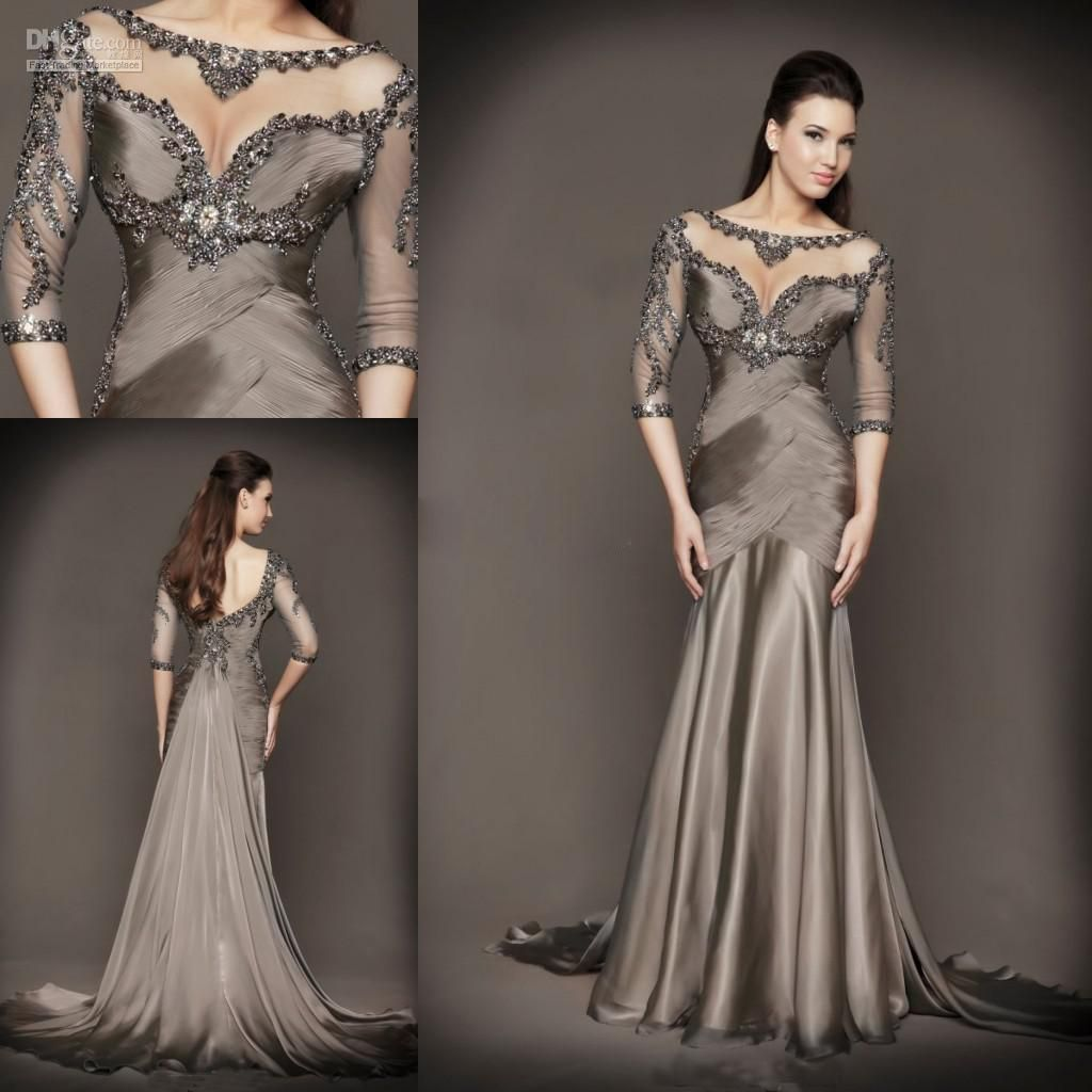 Mother Of The Bride Dresses Plus Size With Mermaid Beading Half Sleeve Chapel Train Grey Satin 2017
