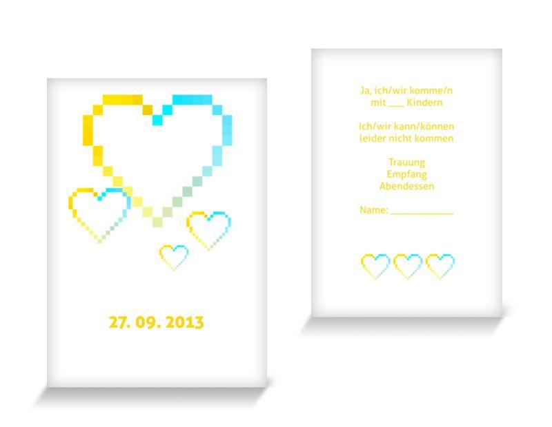Antwortkarten Hochzeit Pixelhochzeit