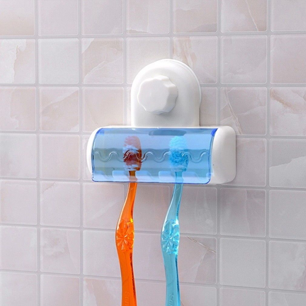 Home Bathroom 5 Set Toothbrush Spinbrush Suction Holder Wall Mount Stand Rack