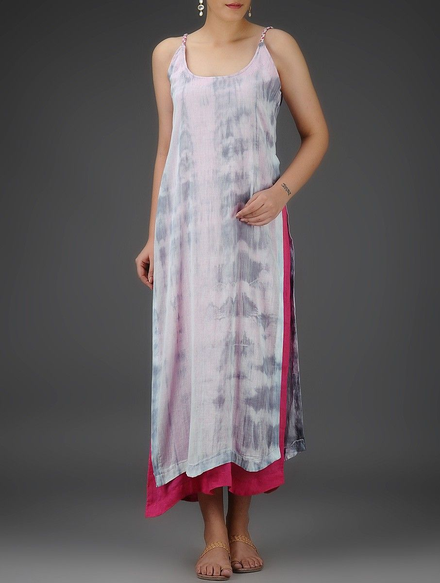 Buy ivory pink grey tie and dye layered cotton mul slip dress women
