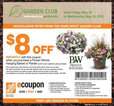 Home Depot Coupon 8 Off A Pw Hanging Basket Or Planter Http