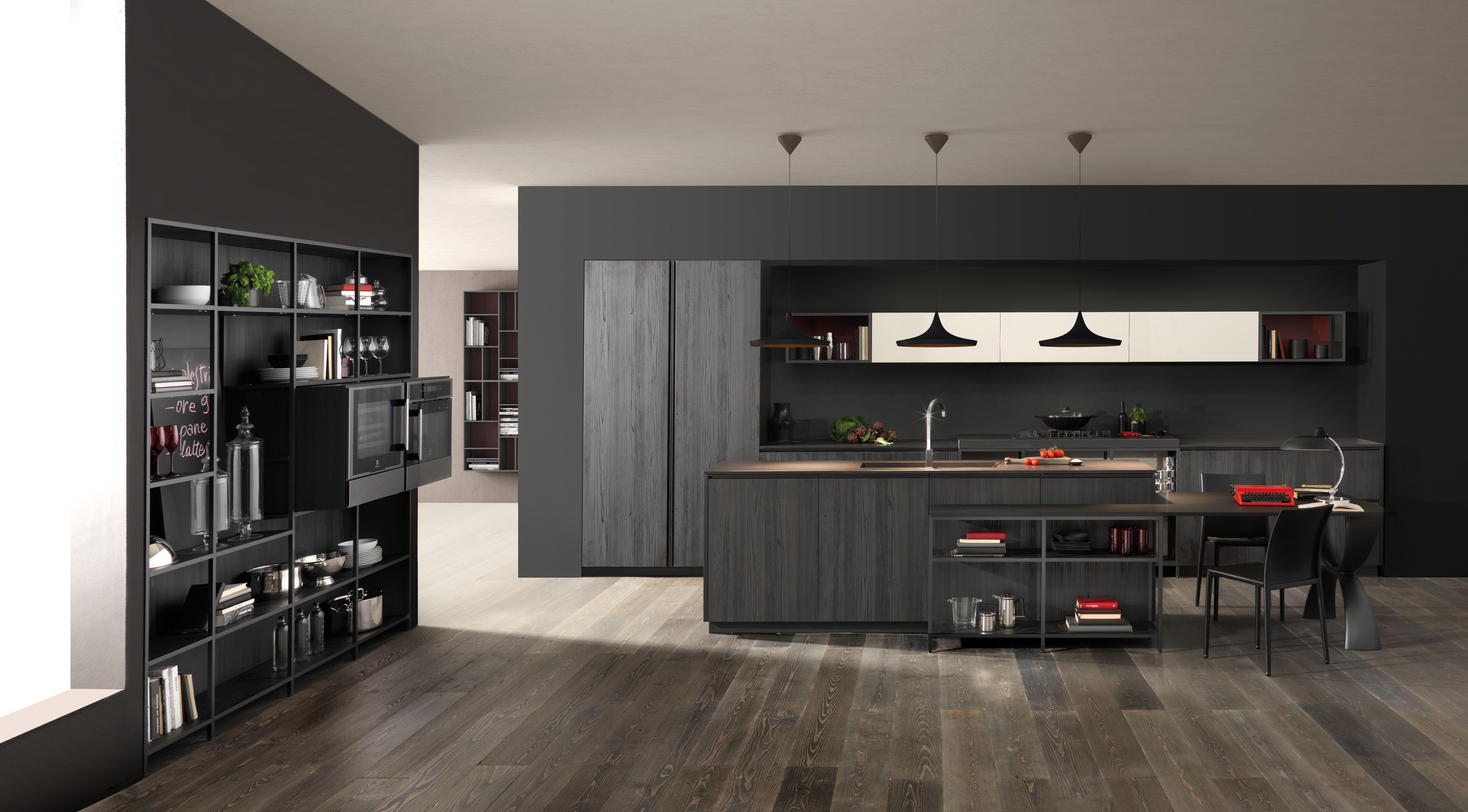 Berloni Kitchen Bvolume Nobilitato Log Cocoa And Laccato Lucido