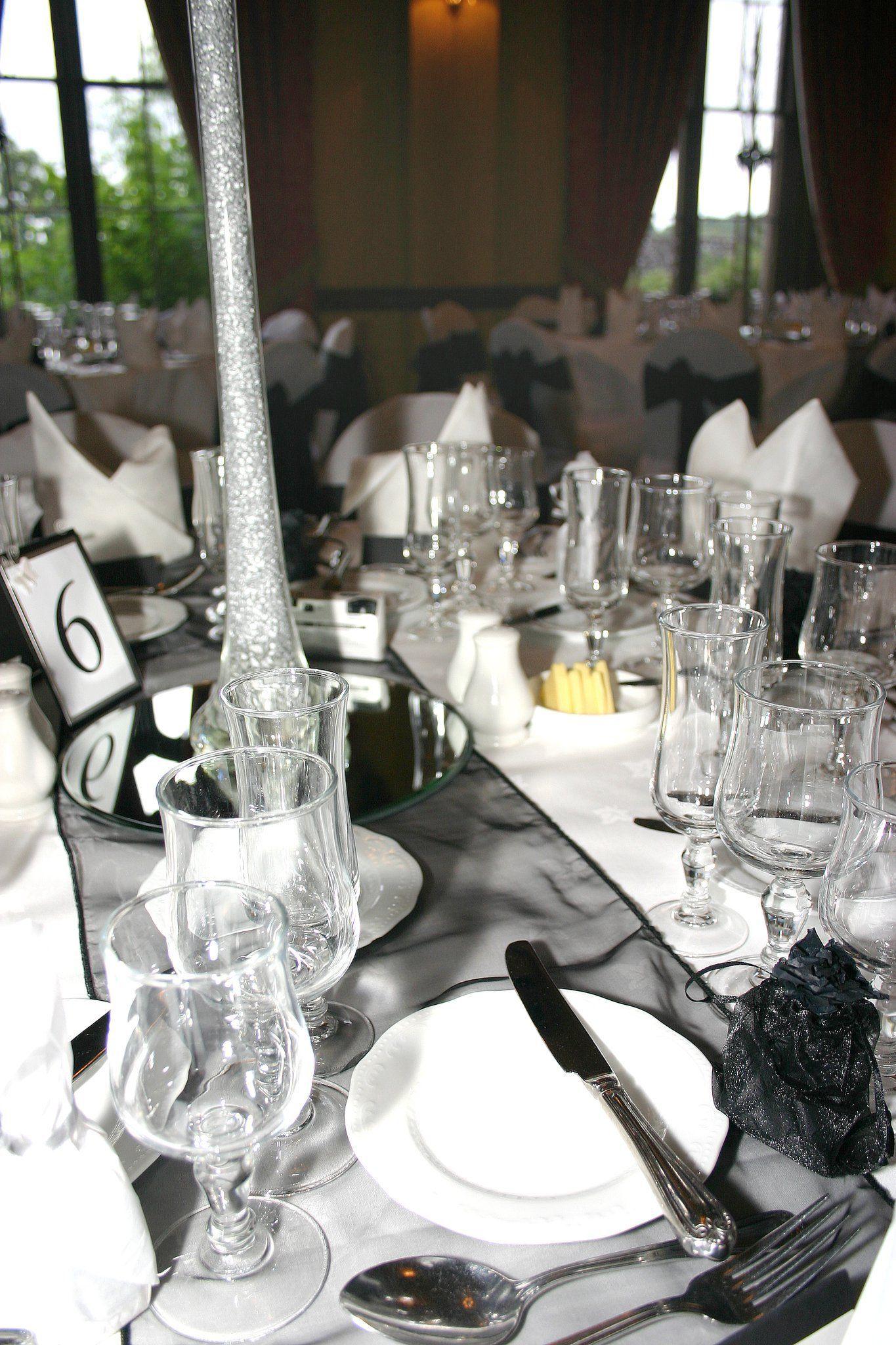 www.allwrappedupe... black white silver table wedding