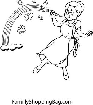 Lady Painting Rainbow St Patrick S Coloring Pages Free