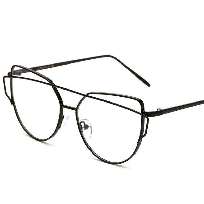 Fashion Clear Lens Plain Cat Eye Glasses for Reading Aviation Alloy ...