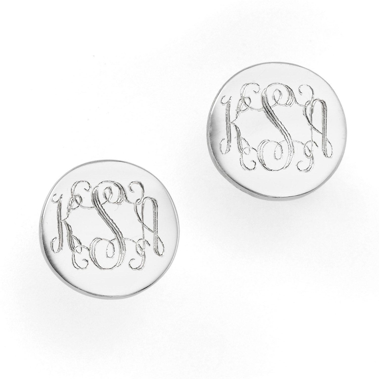 Sterling Silver Monogram Earrings Stud By Minimalistdesigns