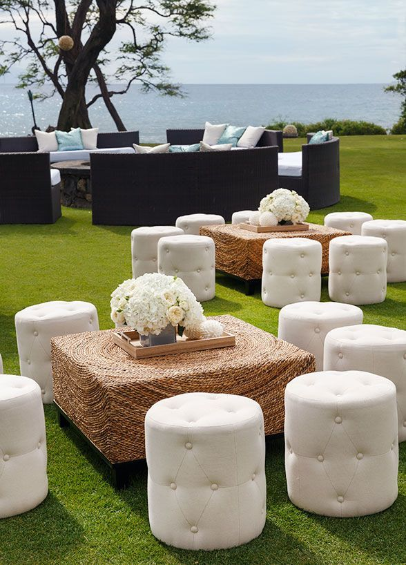 Amazing Cocktail Party Wedding Ideas Part - 7: Chic White Lounges With Gold Accents Create A Luxe Look Without  Compromising Your Coastal Setting. Outdoor Cocktail Party ...