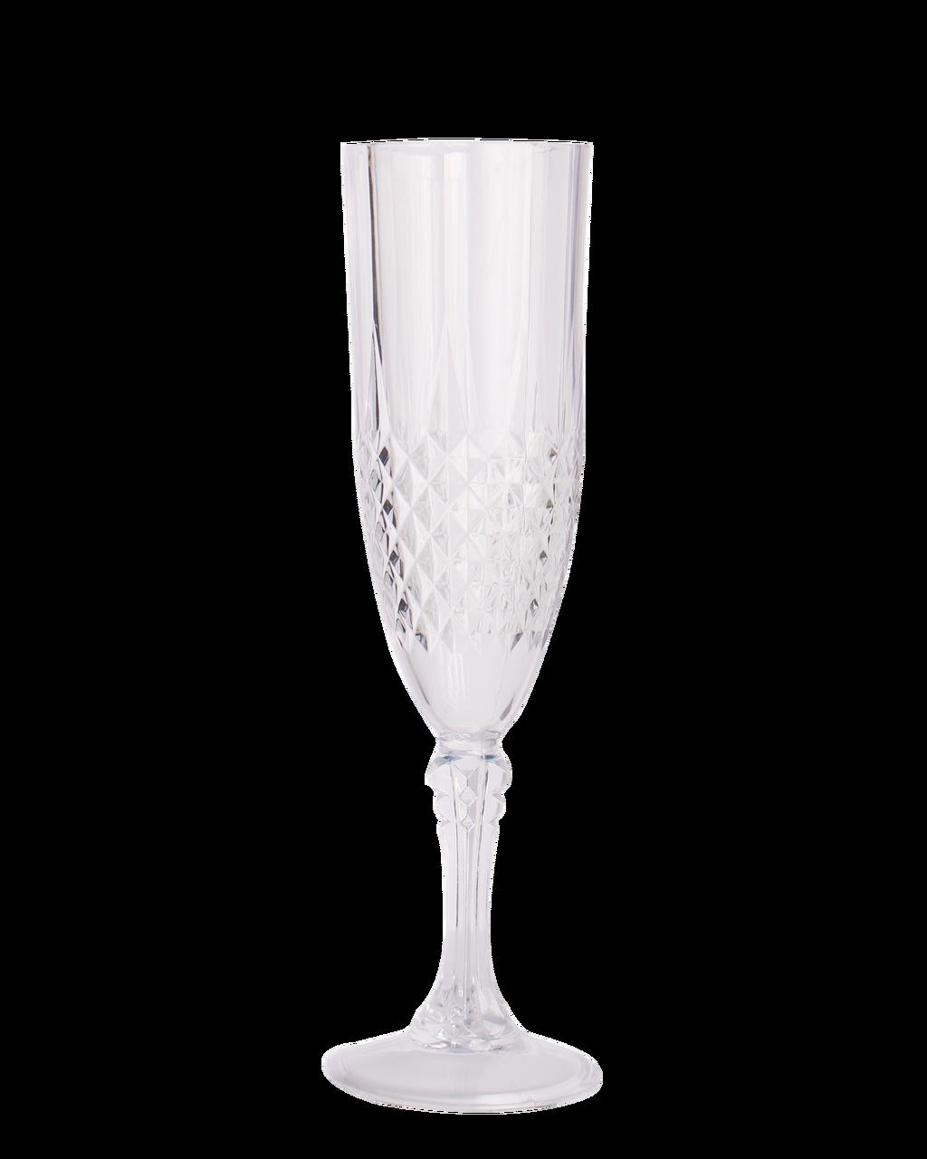 8 oz Crystal Plastic Champagne Flutes 4 Glasses