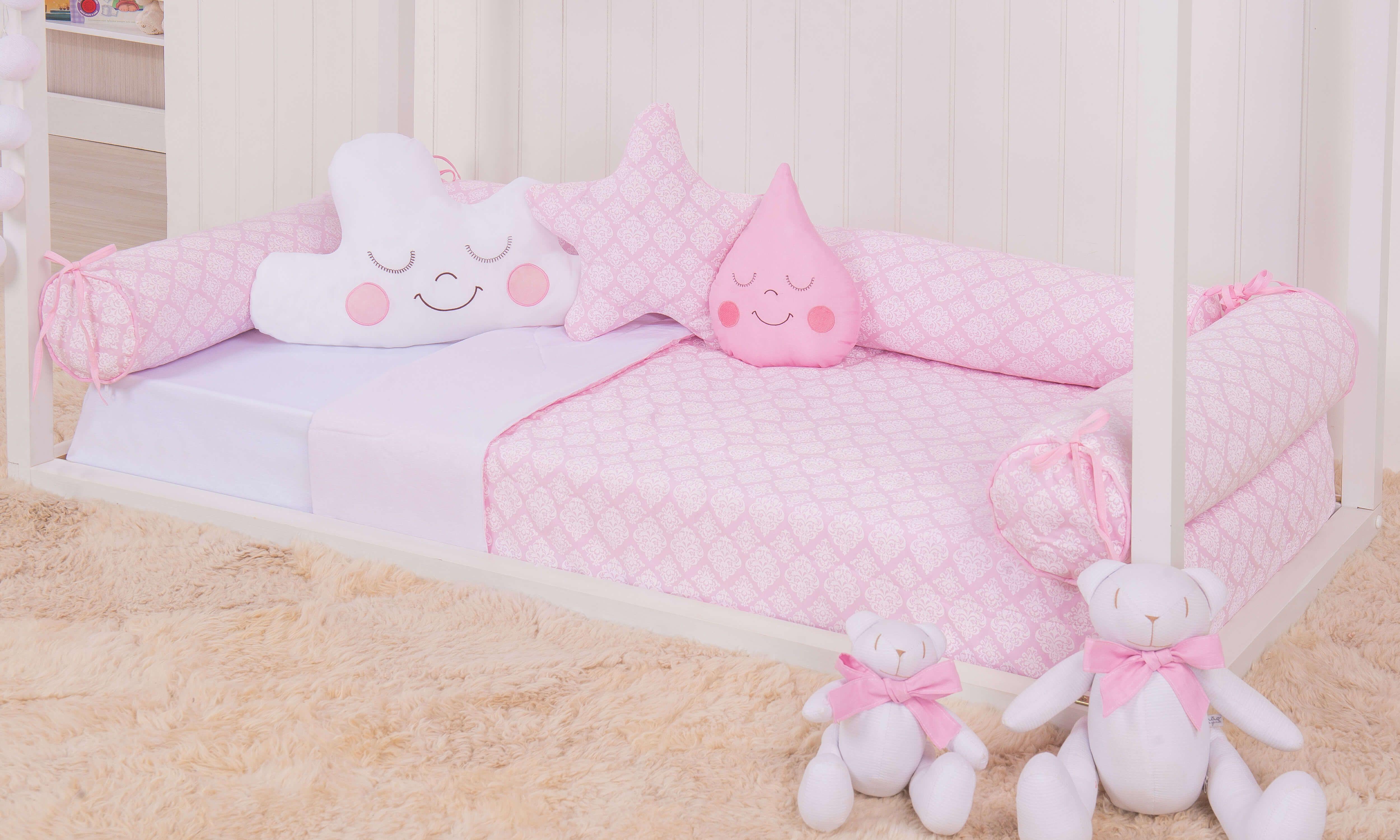 4a0645c83a0f1 O quarto de bebê montessoriano rosa vai ganhar um enxoval ainda mais  fofinho! O Kit