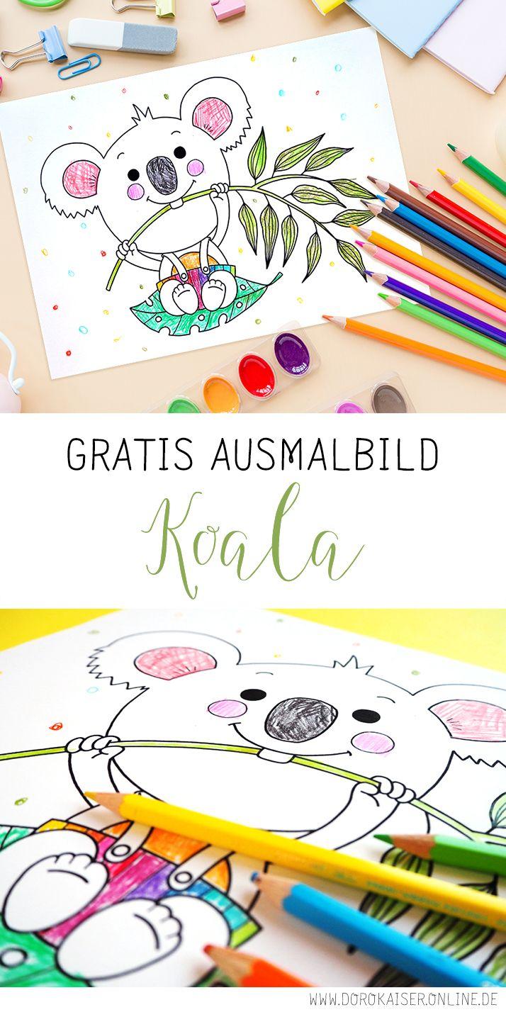 ausmalbild für kinder mit koala  doro kaiser  grafik