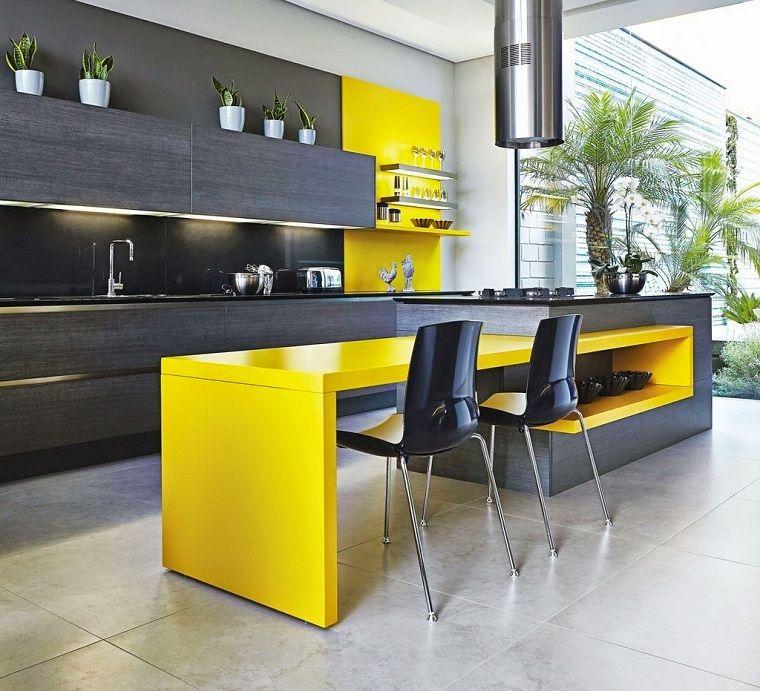 cucine con isola proposta moderna grigio giallo | Кухня ...