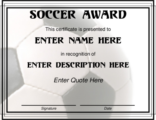 Award Certificate Templates  Soccer Award In Black And White