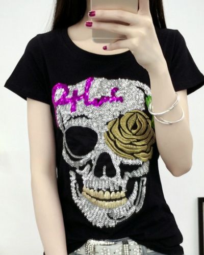 Sequins skull t shirt for women rose flower embroidered tee shirt