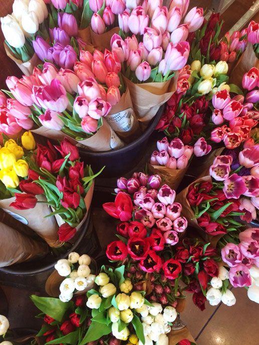 Pretty pink farmer's market tulips.