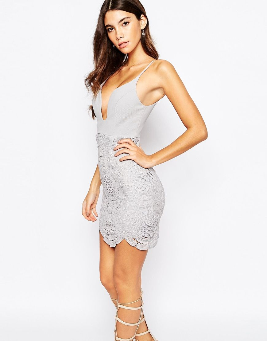 Image 1 of Love Triangle Plunge Front Mini Dress With Lace Skirt ...