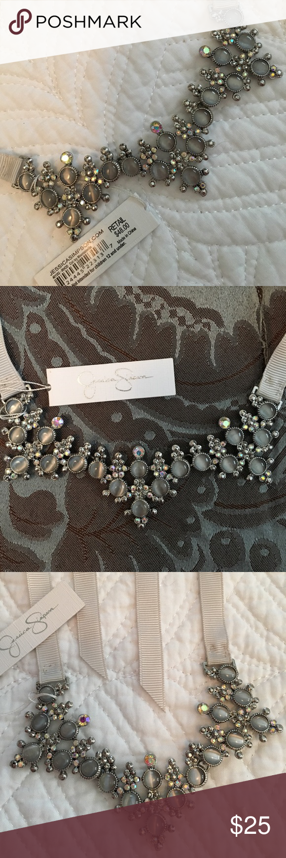 NWT Jessica Simpson Necklace Unique and beautiful -Jessica Simpson- crystals on an adjustable ribbon.  ❌ sorry no trades. Jessica Simpson Jewelry Necklaces