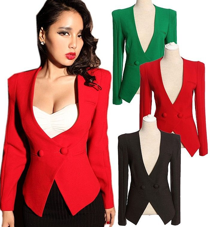 Women Double Breasted VNeck Power Shoulder Fitted Suit Tuxedo ...