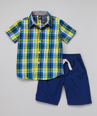 Love this Yellow Plaid Button-Up & Navy Shorts - Infant, Toddler & Boys by Nautica on #zulily! #zulilyfinds