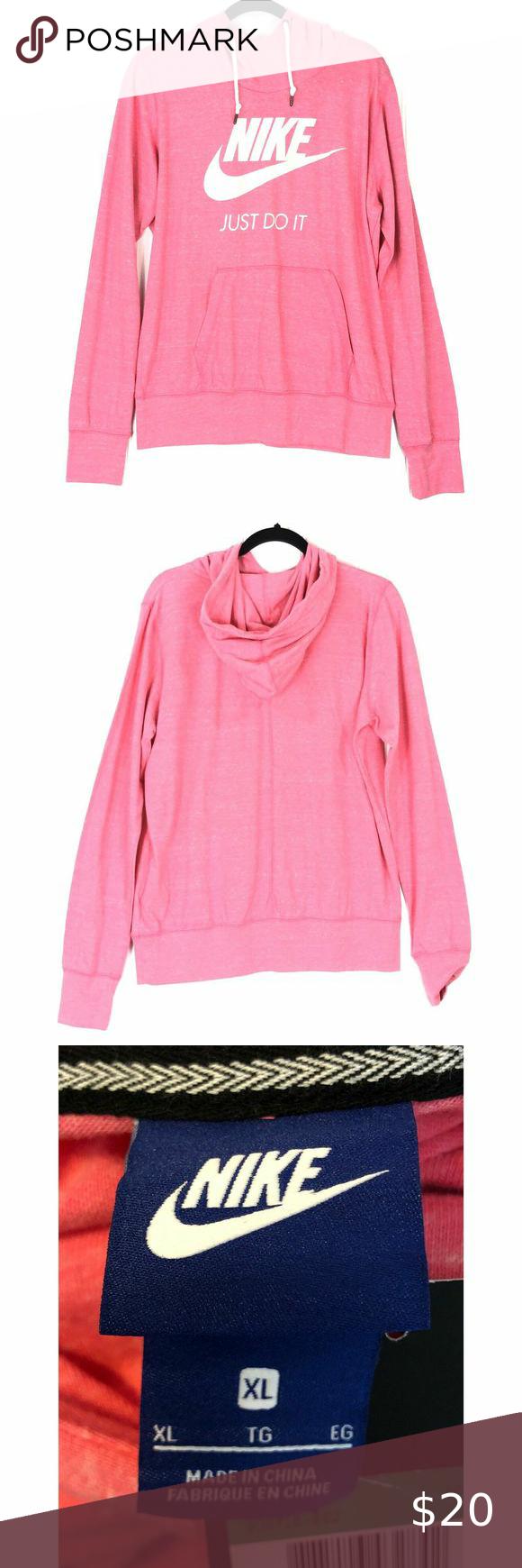 Nike Sweatshirt Pink Gym Vintage Pullover Hoodie In 2020 Nike Sweatshirts Pullover Hoodie Pink Sweatshirt