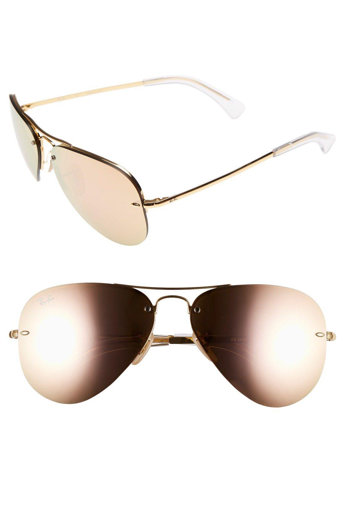 cc8c49ac99d Ray-Ban 59mm Semi Rimless Aviator Sunglasses in Brown Pink