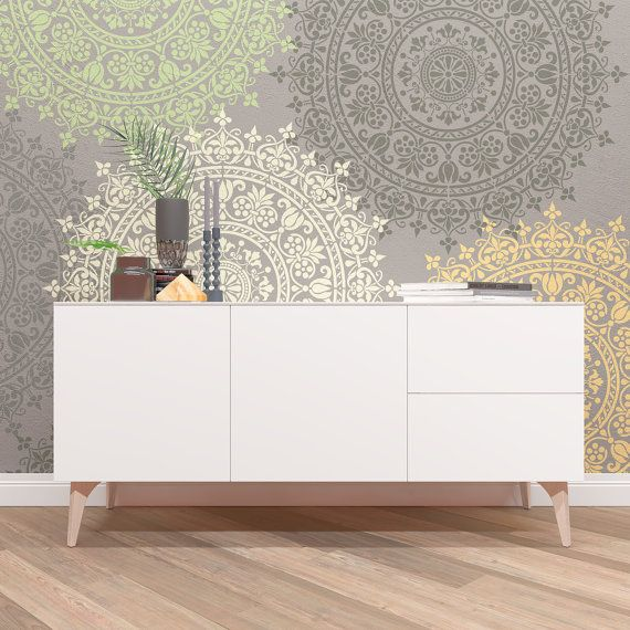 wall stencil medallion unique design stencil unique pochoir et m daillons. Black Bedroom Furniture Sets. Home Design Ideas