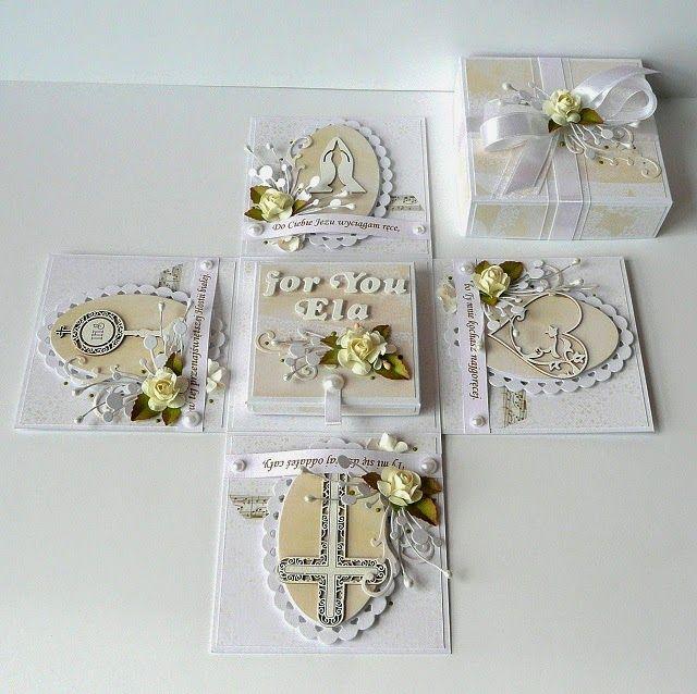 Kartkulec I Komunia Swieta Explosion Box Christening Cards Card Box
