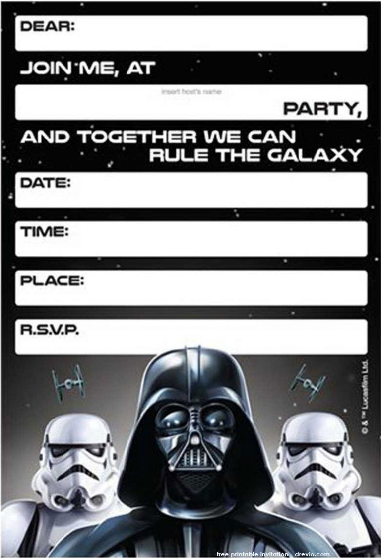 image about Star Wars Invitations Free Printable identified as No cost Printable Star Wars Birthday Invites - Template